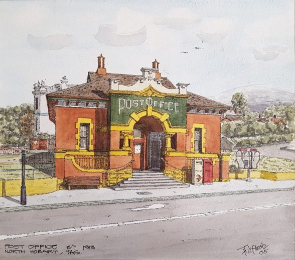 Post Office, North Hobart c1913 - Drawing by Horst Tiefholz