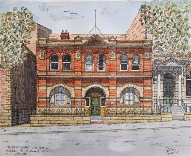 Professional Chambers, Murray St , Mid 19th century - Drawing by Horst Tiefholz