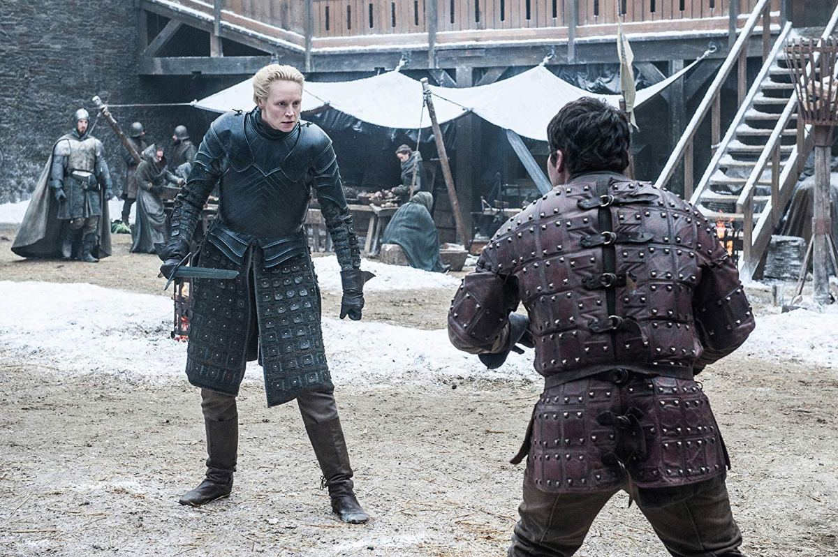brienne/pod training duel at winterfell