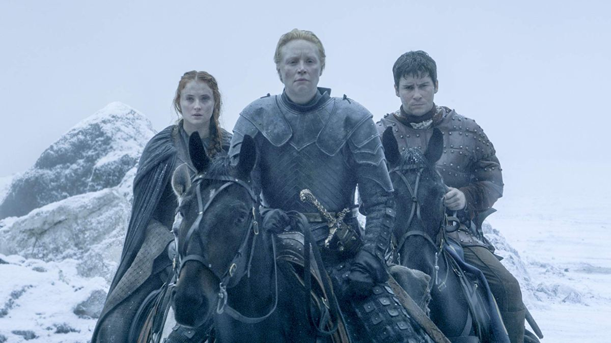 brienne, pod, and sansa stark reach the wall