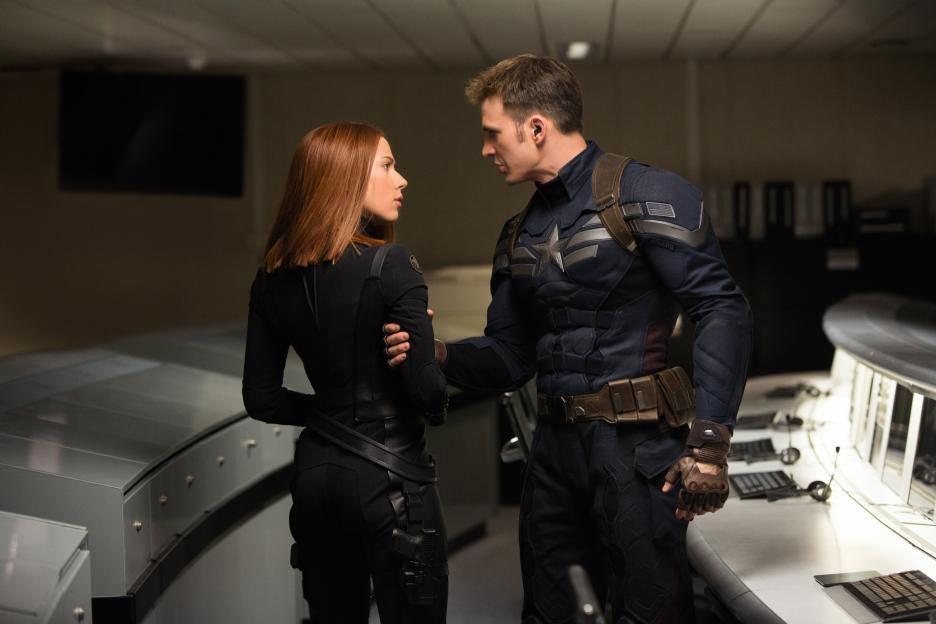 natasha romanoff and steve rogers in captain america: the winter soldier
