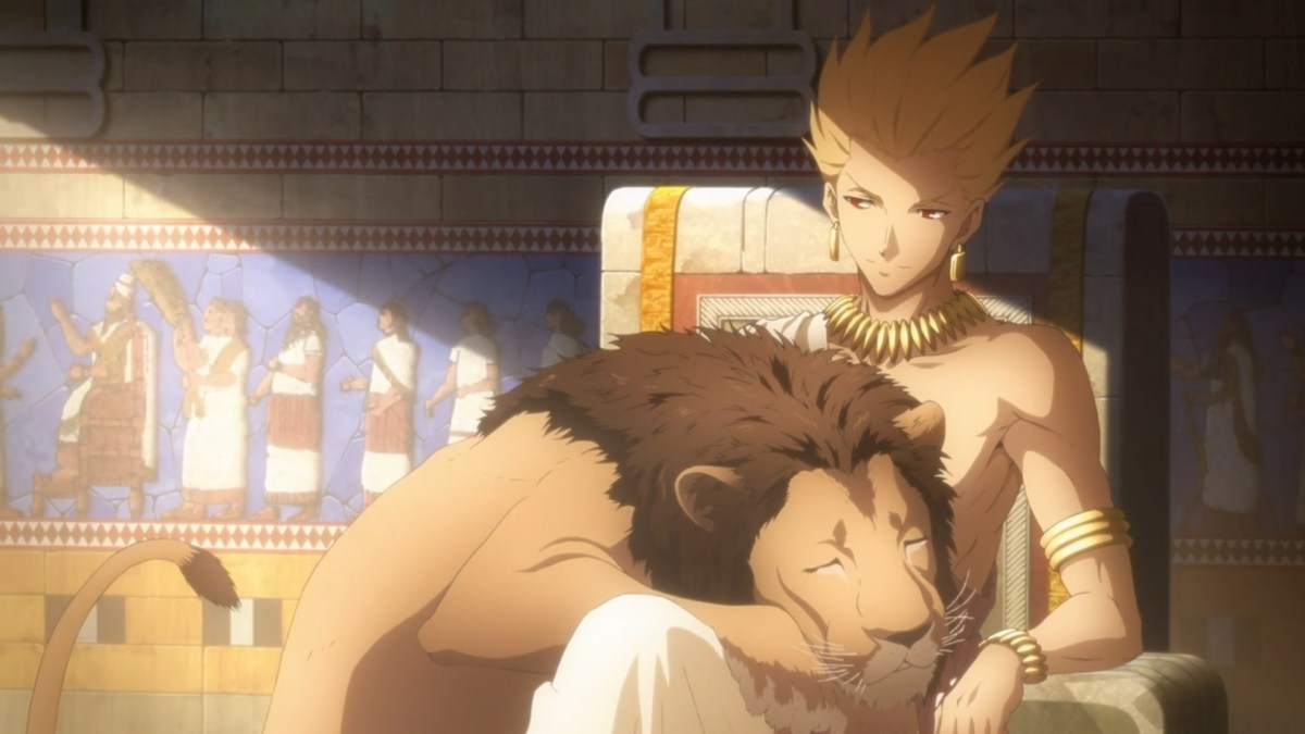 Gilgamesh as King, with a lion.