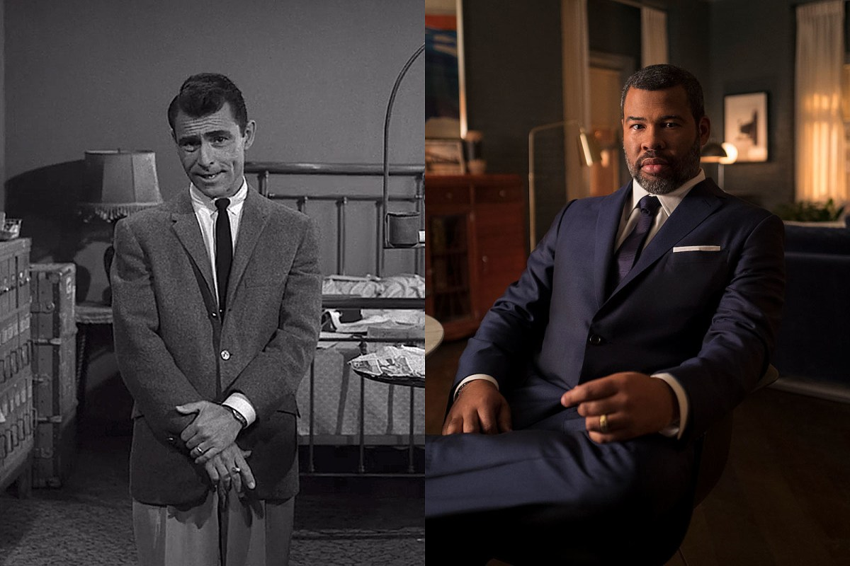 Side-by-side images of Rod Serling and Jordan Peele. Both are presenting opening monologues for The Twilight Zone.