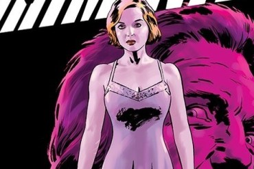 The cover of Criminal #6 featuring Jane and the head of Teeg behind her
