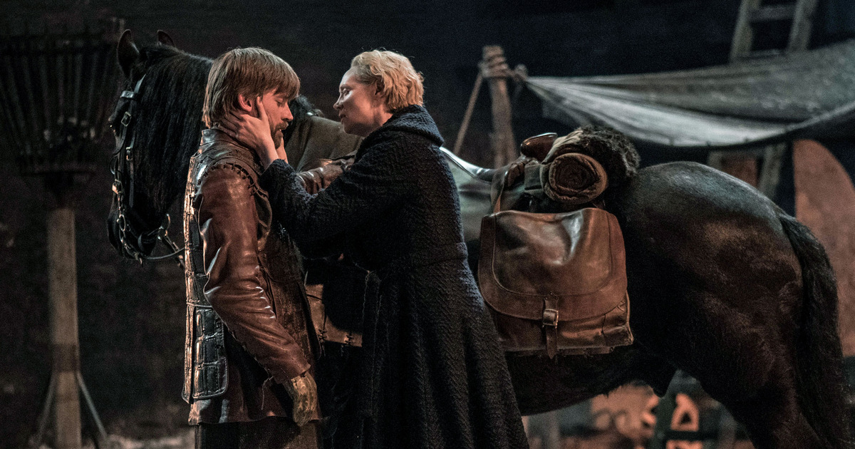 Brienne of Tarth pleads Jaime not to leave her side.