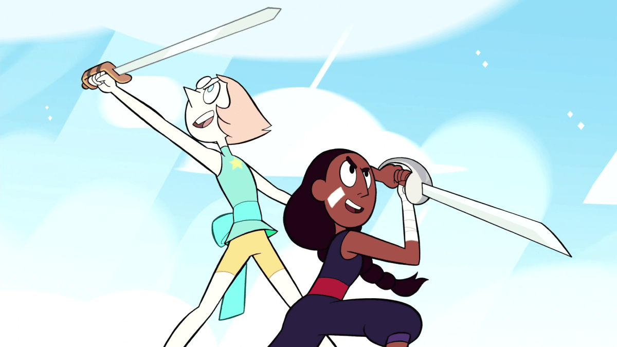 Steven Universe, Episode Sworn the the Sword, Pearl and Connie in battle positions.