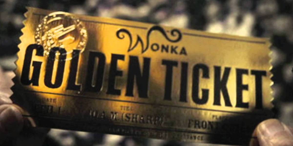 The golden ticket from Charlie and the Chocolate Factory.