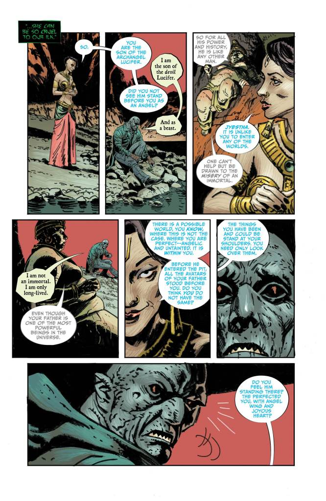 Lucifer #11: Page #3, Caliban speaks to Mohini in the Hindu underworld.