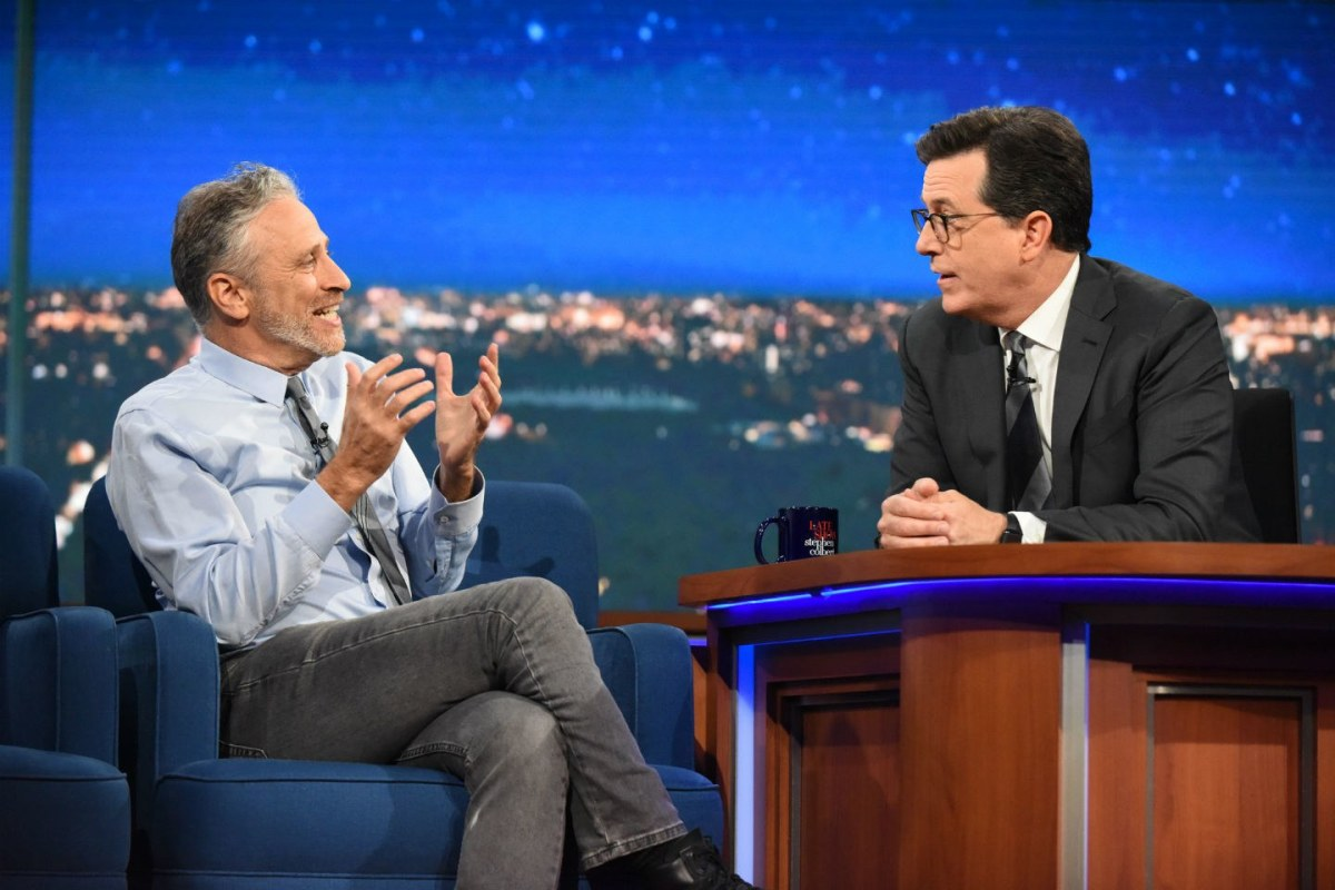 Jon Stewart and Stephen Colbert: the focus of fake news fandom.