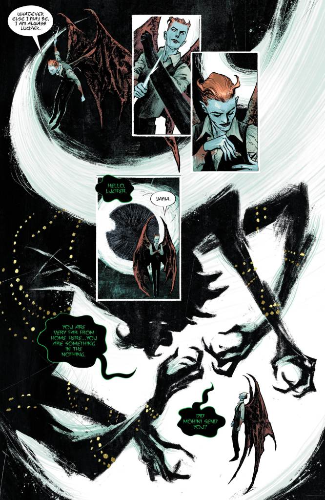 Lucifer #11: Page 2, Lucifer talks with Yama in the ocean of nothing.