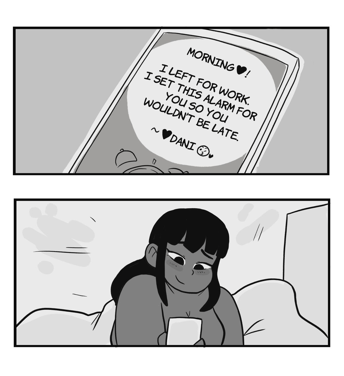 My Dragon Girlfriend #190 Dani waking up to alarm set by girlfriend and smiling at phone
