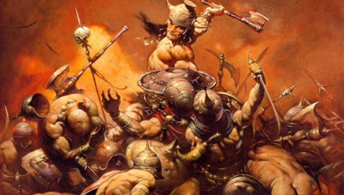Conan the Barbarian cleaving into a hoard of enemy troops. Weapons are flying everywhere, and bodies are stacking on top of each other as Conan dominates the fight.