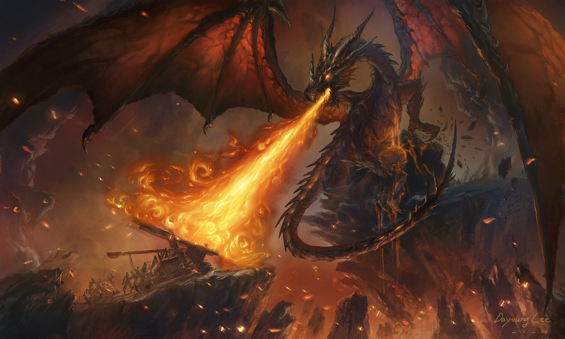 Hero's Journey -- Dragon breathing fire at catapults and soldiers. Massive wings circle the background and a cliff separates the dragon and soldiers.