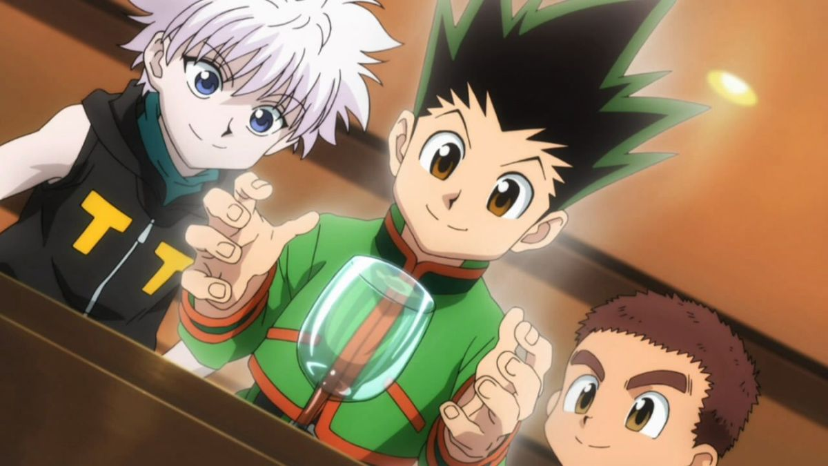 Killua, Gon, and Zushi all trying to make water in a glass move.