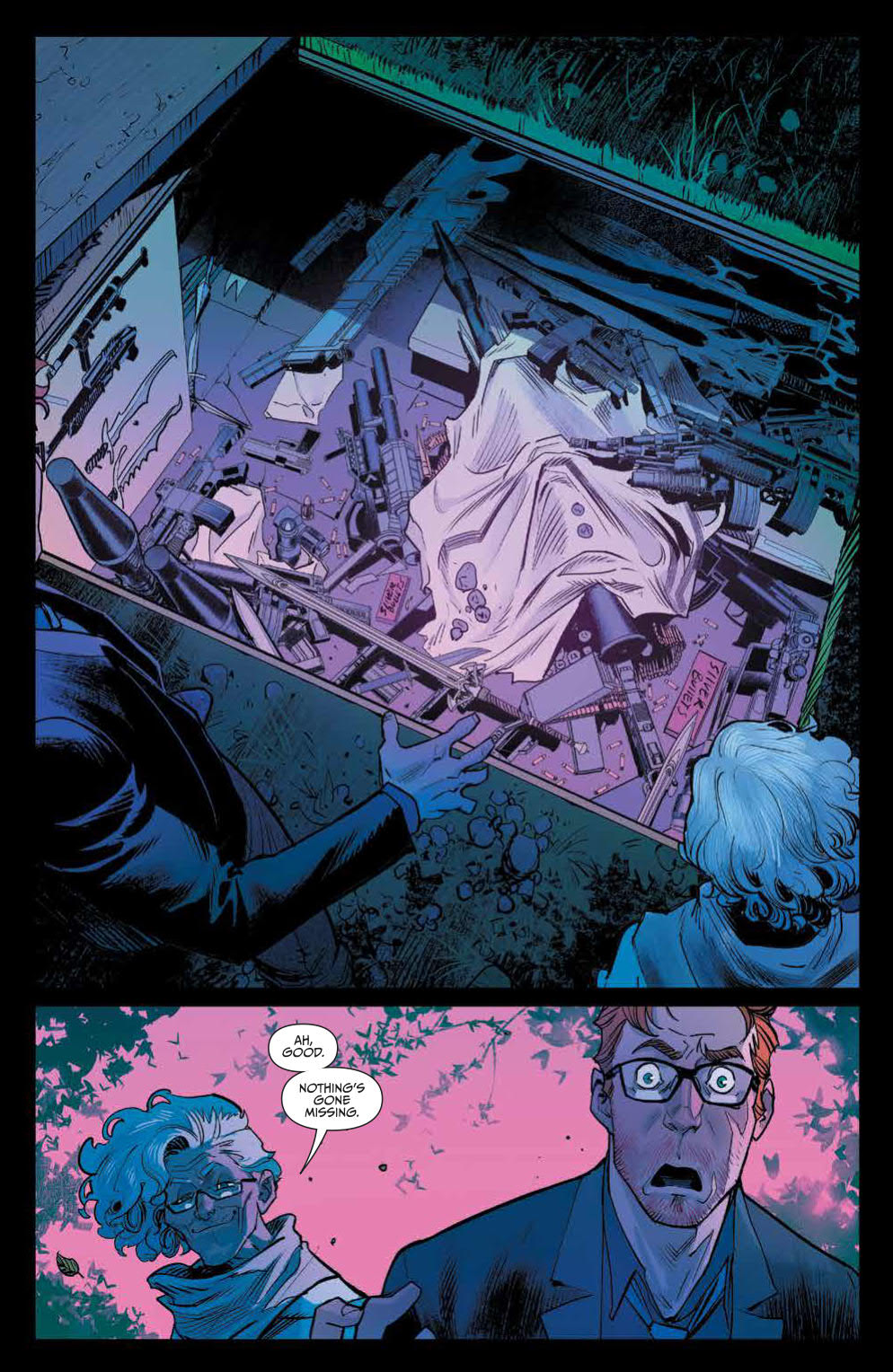 Once And Future #1: Page 15, Duncan Looking Pretty Shocked At His Grandmother's Arsenal of Weapons.