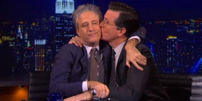 Stephen Colbert gives his best bud, Jon Stewart, some affection.