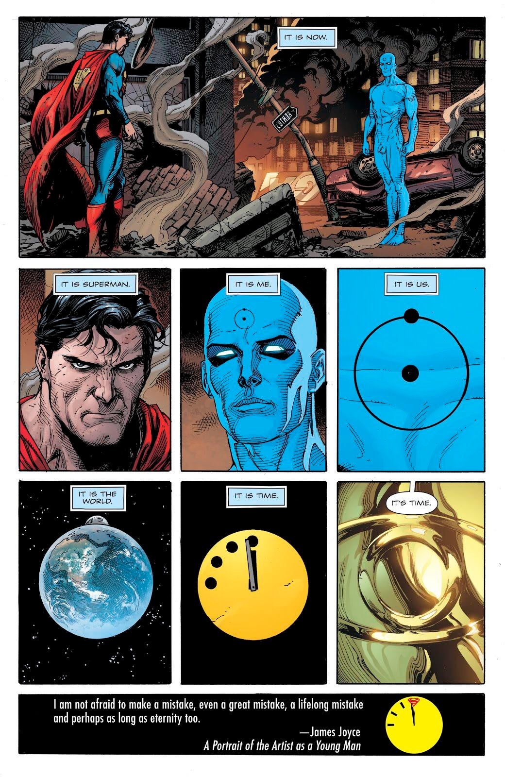 Doomsday Clock #11: Page #28, Superman faces Dr. Manhattan.