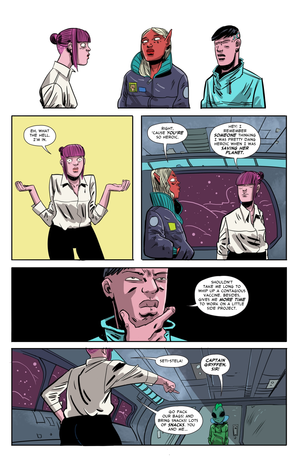 Gryffen: Galaxy's Most Wanted #7; Page 8, SBI Press.