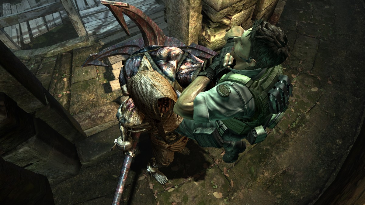 Zombie from Resident Evil 5 choking player