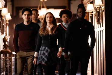 "Legacies -- ""What Was Hope Doing in Your Dreams?"" -- Image Number: LGC113a_0461bc.jpg -- Pictured (L-R): Aria Shahghasemi as Landon, Peyton Alex Smith as Rafael, Danielle Rose Russell as Hope, Quincy Fouse as MG, and Christopher De'Sean Lee as Kaleb -- Photo: Jace Downs/The CW -- © 2019 The CW Network, LLC. All rights reserved."