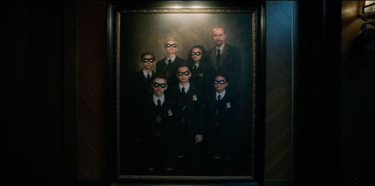 Portrait of the members of the Umbrella Academy and Reginald Hargreeves.
