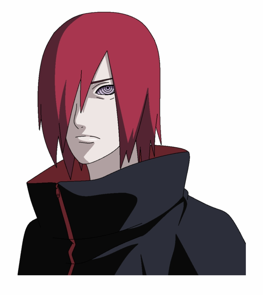 Nagato Uzumaki with one Rinnegan eye showing through his red hair.