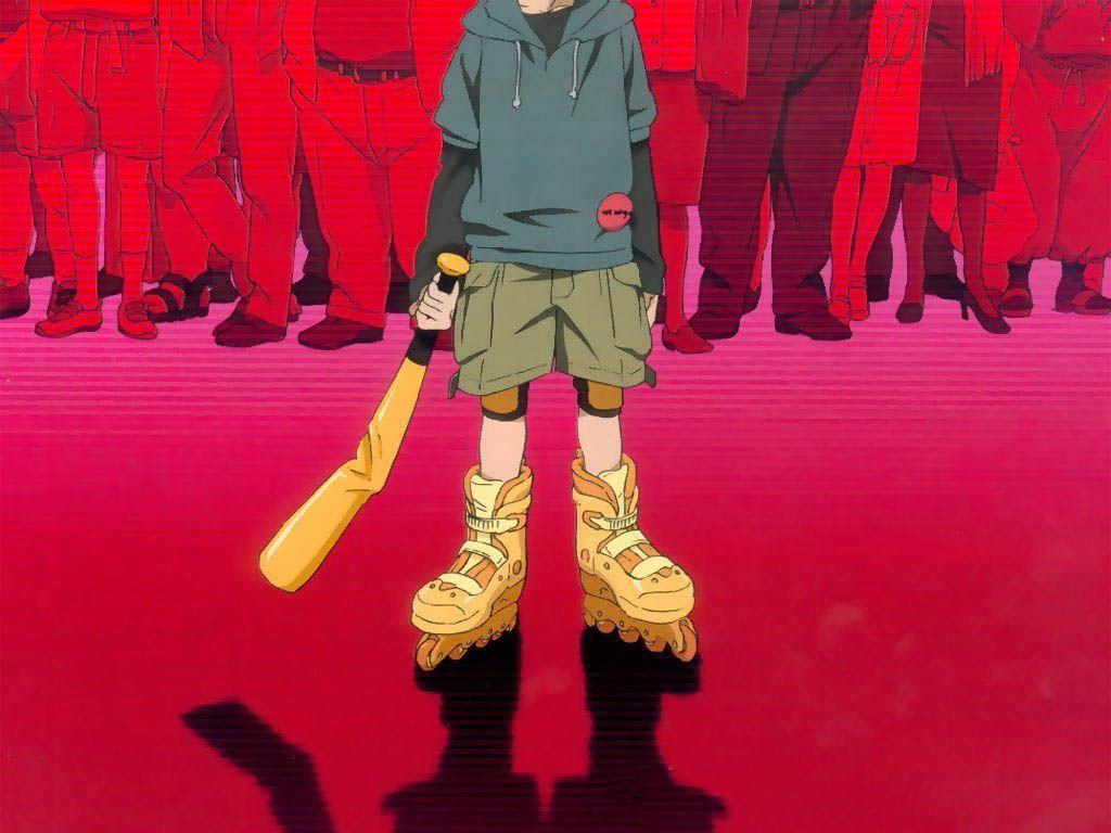 Paranoia Agent main character, Lil Slugger, standing ominously in front of a crowd wearing his golden skates and holding his baseball bat.