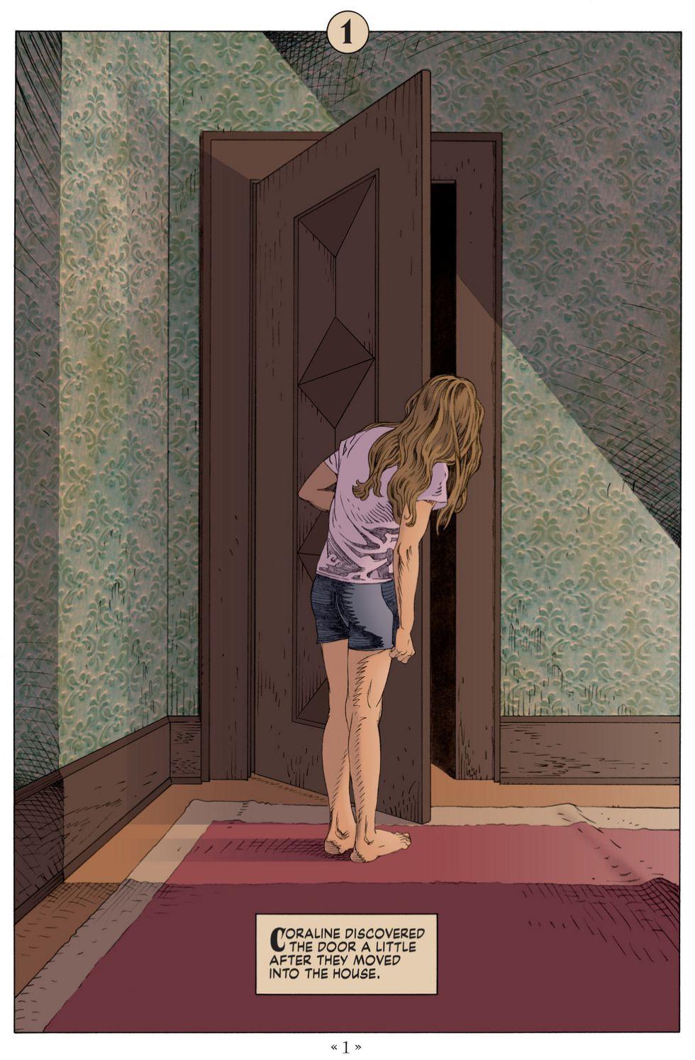 Coraline opening mysterious door: spooky comics