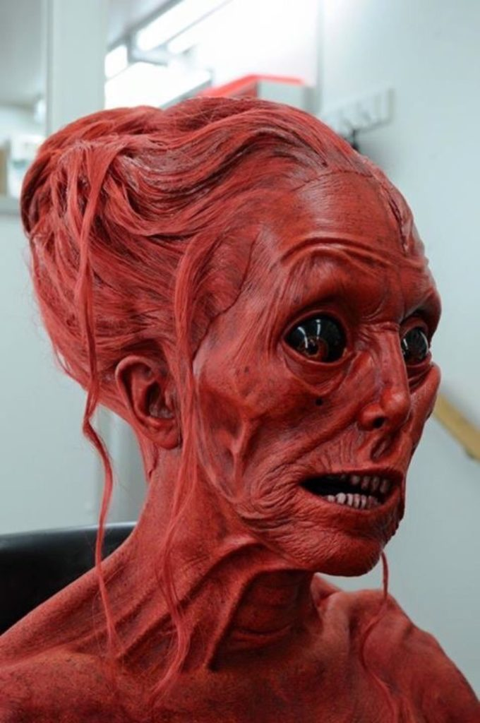 """A behind the scenes photo of a ghost's makeup from """"Crimson Peak."""""""
