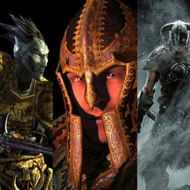 Official promo images from Morrowind, Oblivion, and Skyrim.