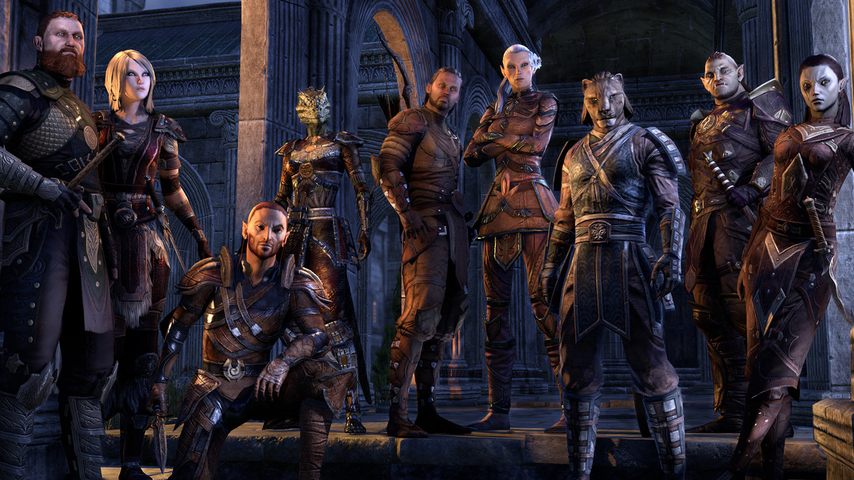 Several ESO player characters posing together.