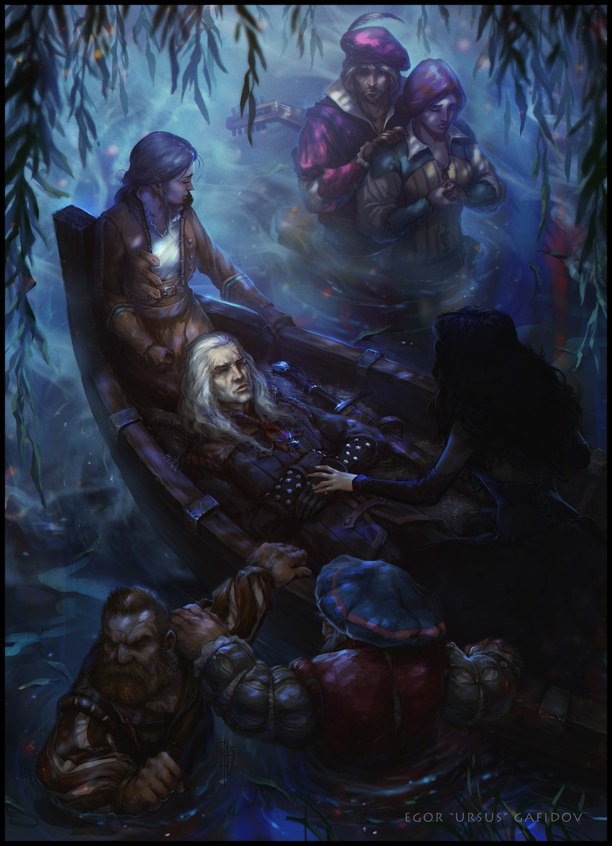 Geralt and Yennefer's dead bodies are placed on a boat to Avalon
