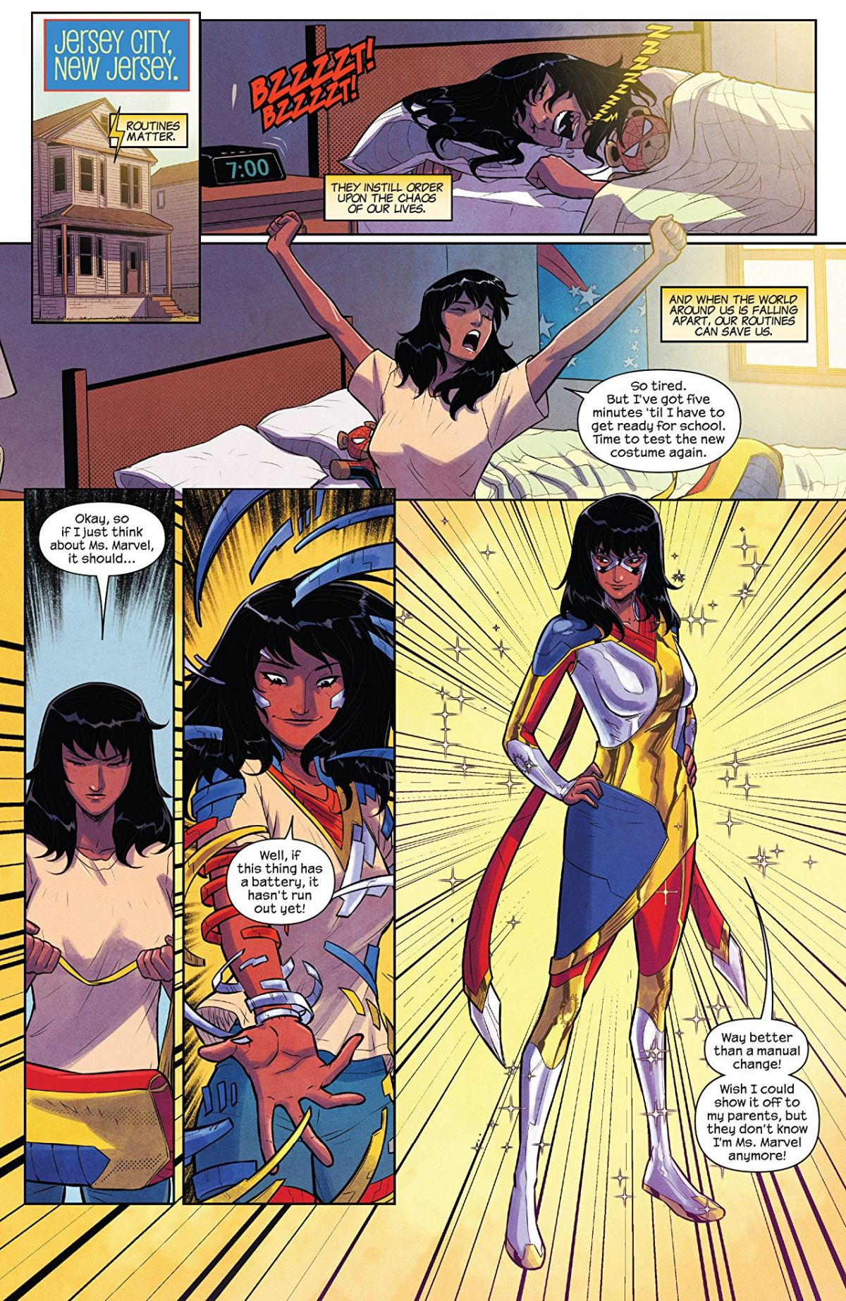 The Magnificent Ms Marvel #7: Page 1 Kamala tries on her new suit.