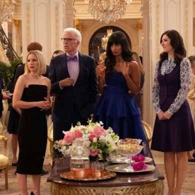 "THE GOOD PLACE -- ""A Girl From Arizona"" Episode 401/402 -- Pictured: (l-r) Kristen Bell as Eleanor, Ted Danson as Michael, Jameela Jamil as Tahani, D'Arcy Carden as Janet -- (Photo by: Colleen Hayes/NBC)"