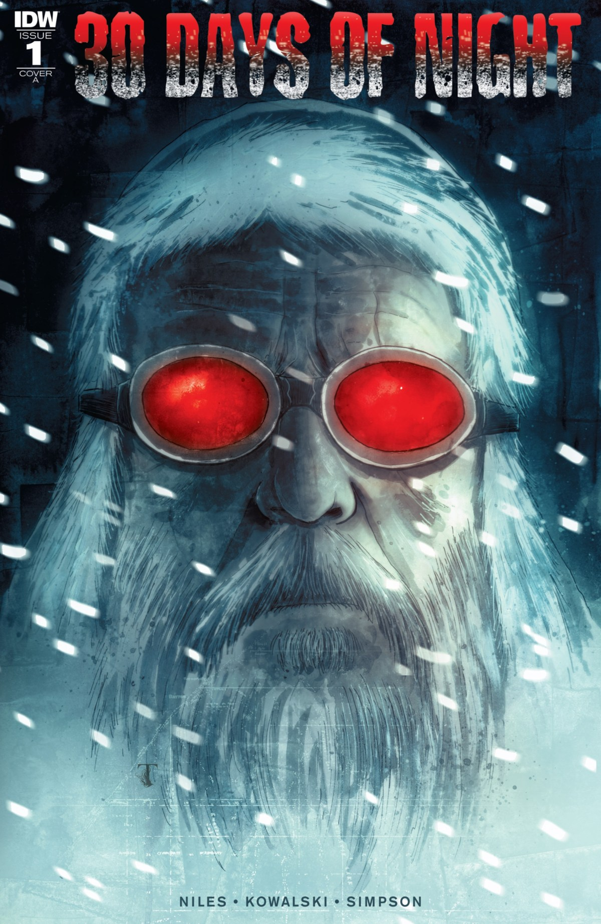 Elderly man with long white hair and beard in a snowstorm: 30 Days of Night Issue #1
