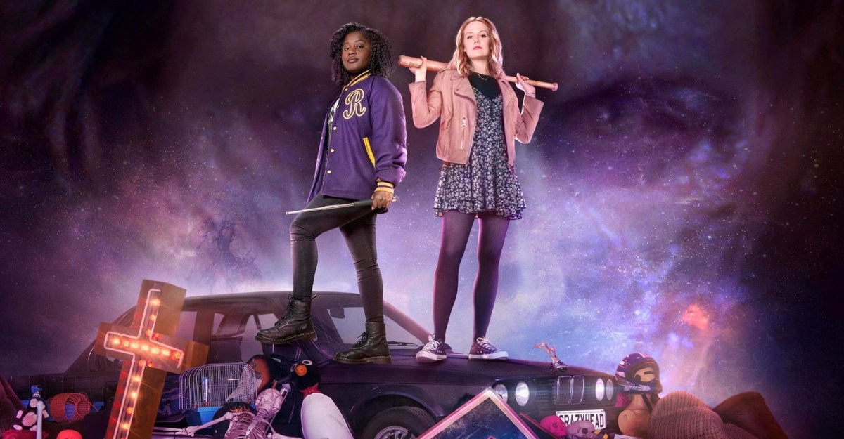 The Halloween film Crazyhead title card shows Cara and Raquel posing with weapons on top of a car that's surrounded by miscellaneous items.