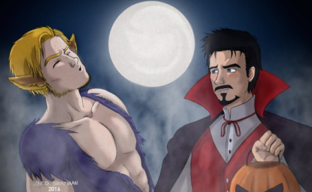 Steve dressed up as a werewolf, and Tony dressed up as a vampire for Halloween.