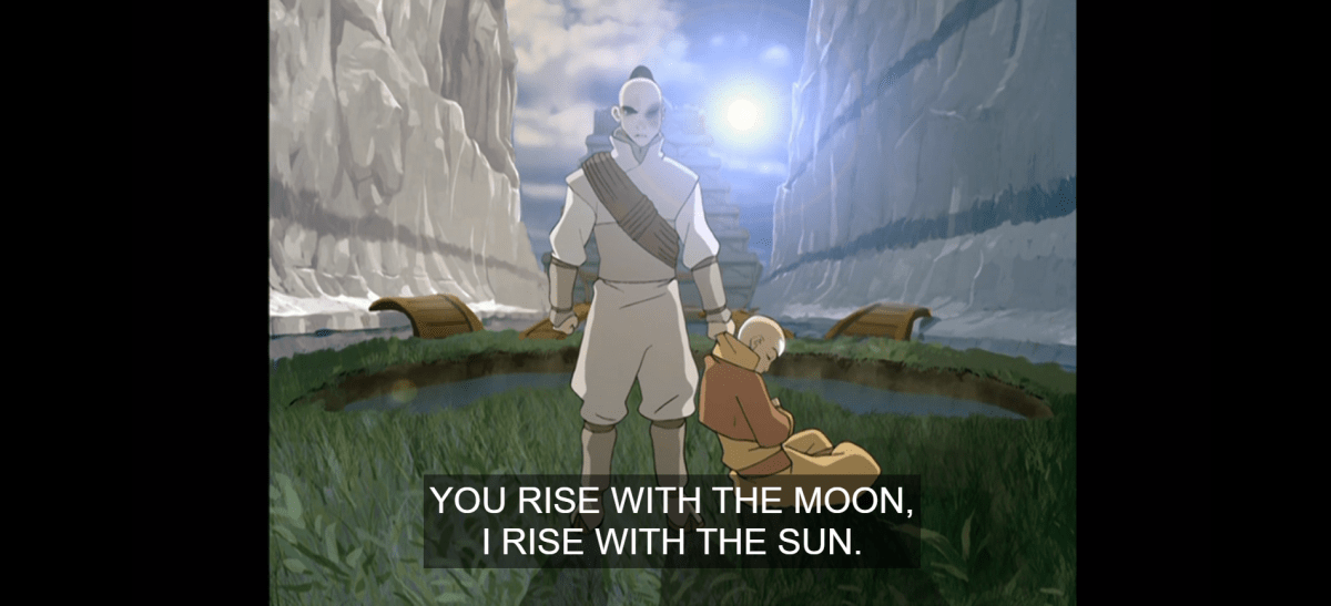 Zutara: Zuko stands, holding Aang by his collar as the sun rises over the North Pole oasis.