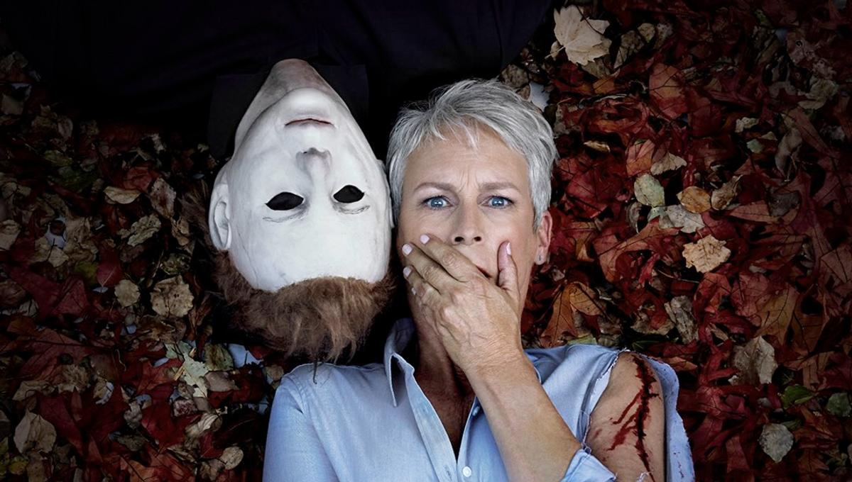 Jamie Lee Curtis and Michael Myers in a Halloween promotion.