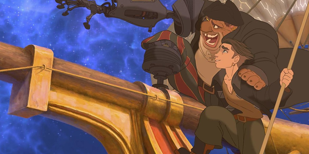 """Jim Hawkins and John Silver bonding on the ship from the film """"Treasure Planet."""""""