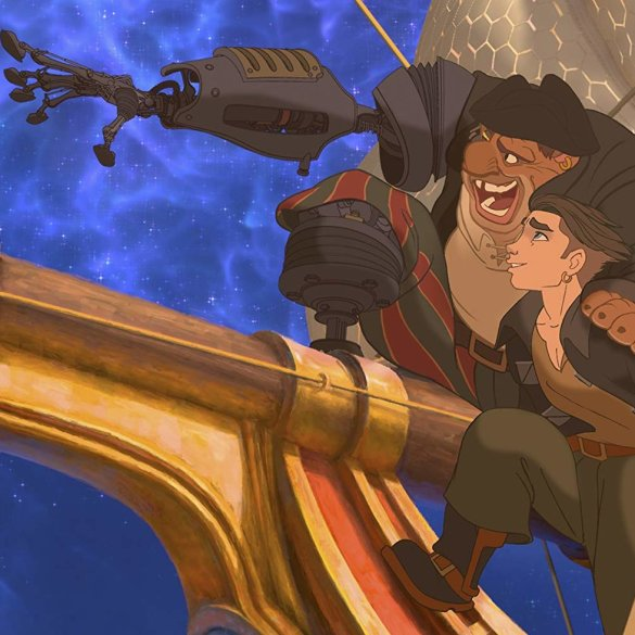 "Jim Hawkins and John Silver bonding on the ship from the film ""Treasure Planet."""