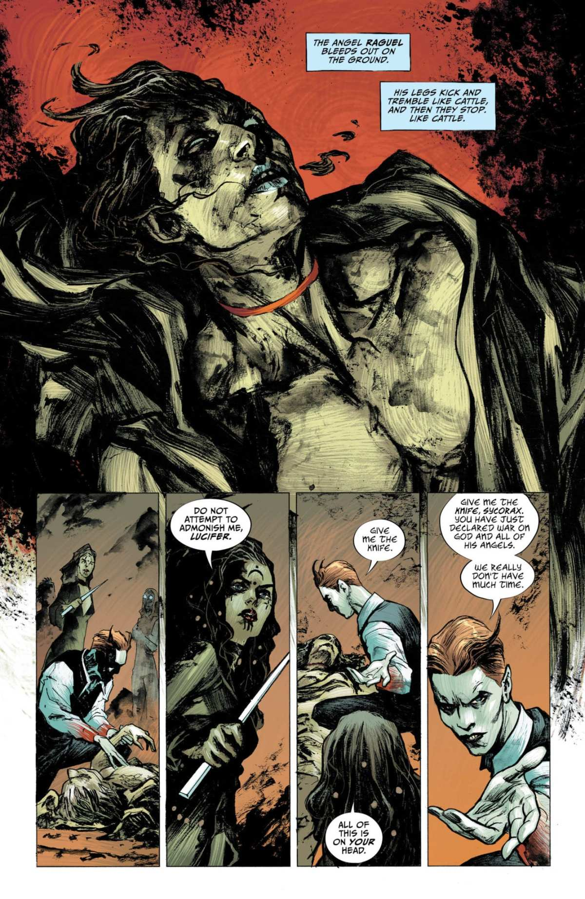 Lucifer #13, Page #1: Lucifer and Sycorax stand over the body of Raguel.