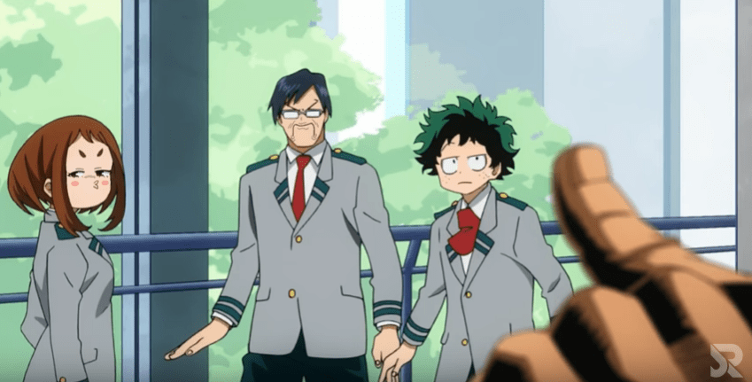 All-Might makes a joke. Midoriya, Ida, and Ochako are unimpressed.