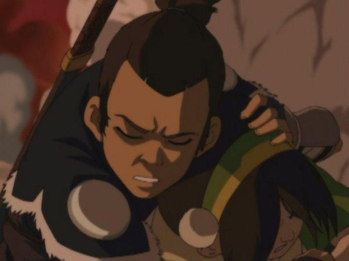 Tokka moment in show: Sokka protects Toph.