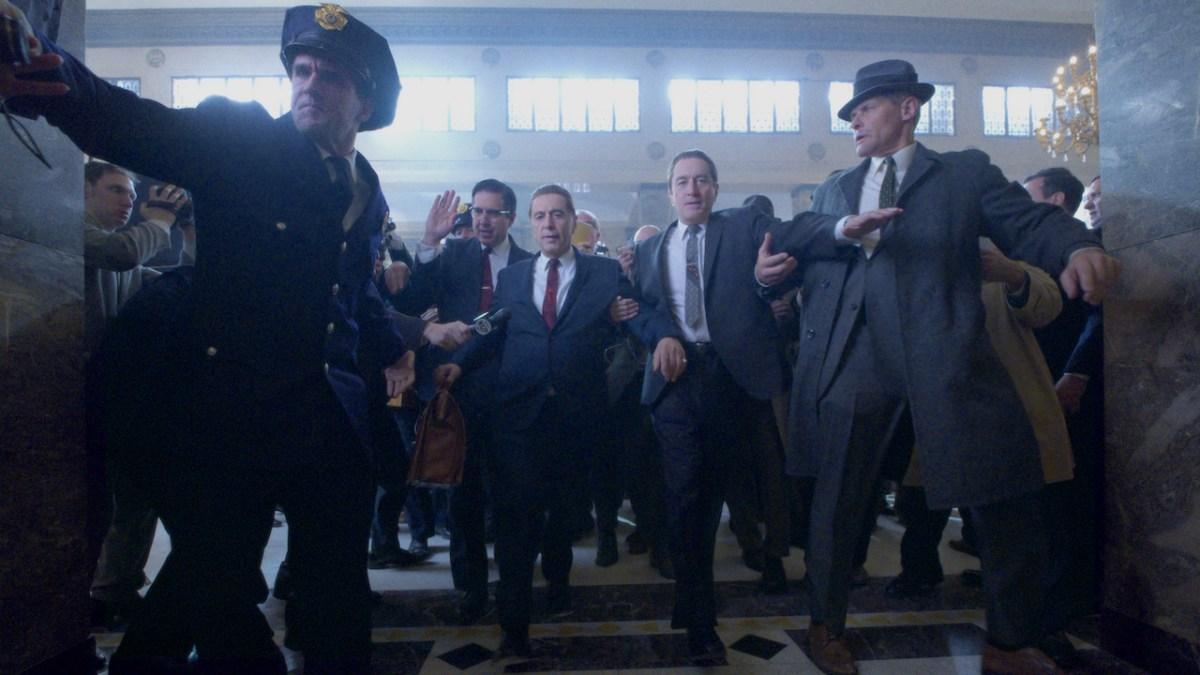 Films: THE IRISHMAN (2019) Ray Ramano (Bill Bufalino), Al Pacino (Jimmy Hoffa) and Robert De Niro (Frank Sheeran)