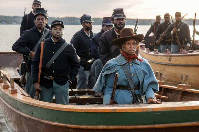 Harriet Tubman leading soldiers to help free slaves during the Civil War.