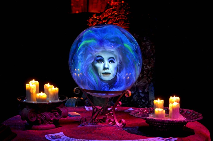 Madame Leota, the disembodied head that speaks from inside a crystal ball, in the Haunted Mansion, played by Leota Toombs.
