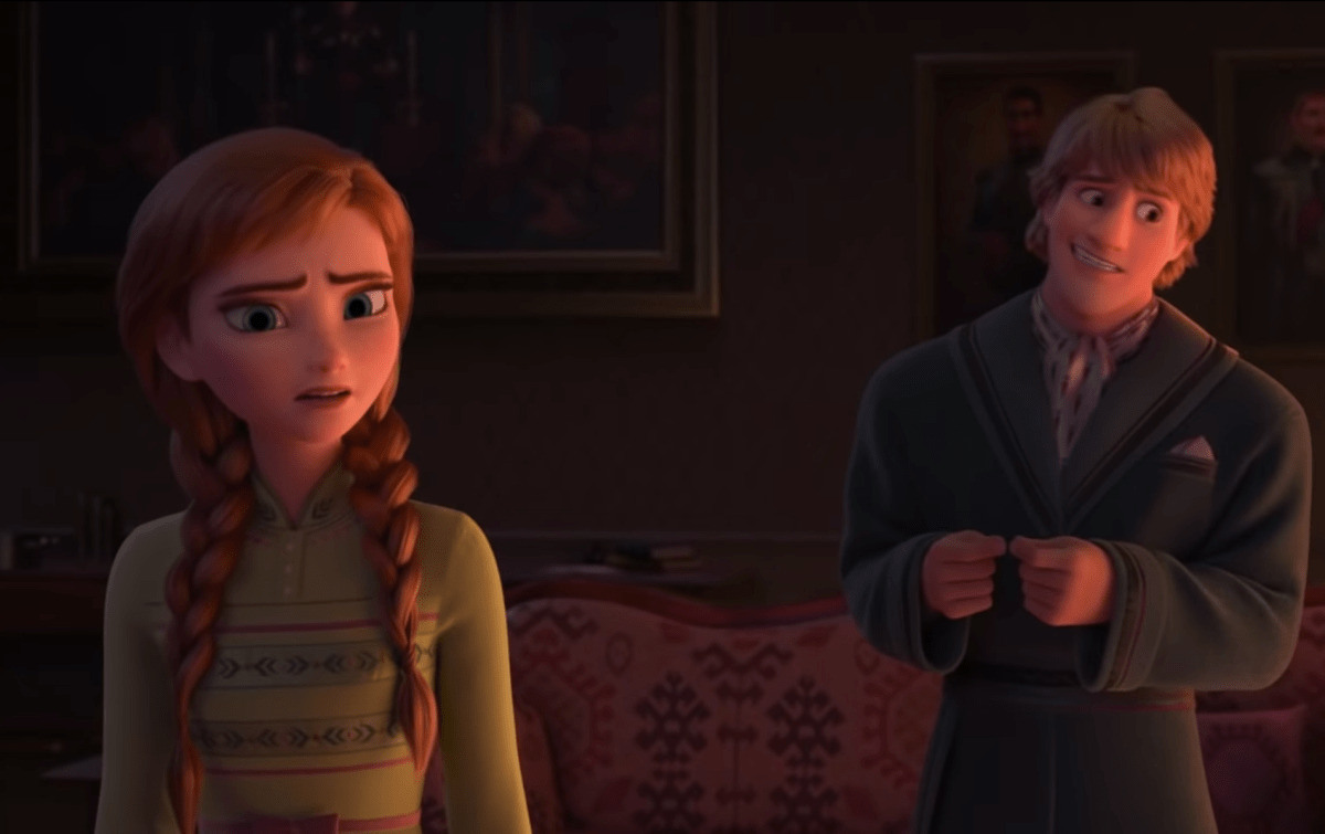 Anna and Kristoff being adorable in the Frozen 2 trailer.