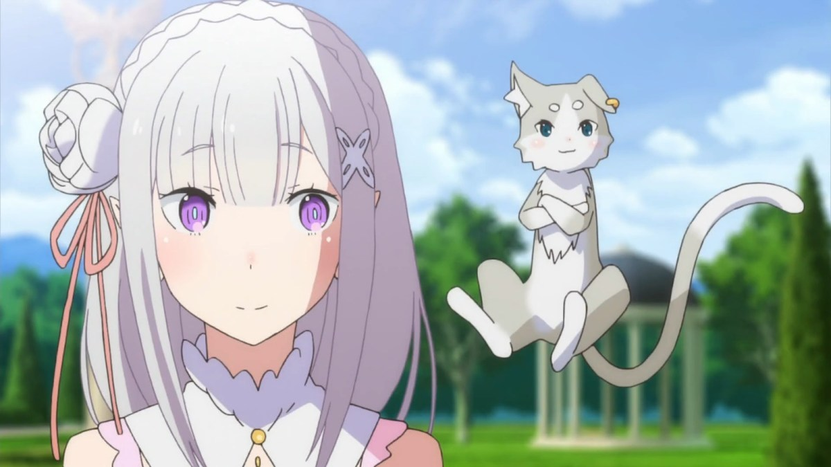 Re:Zero Episode 4, The Happy Roswaal Mansion Family, Emilia standing next to Puck