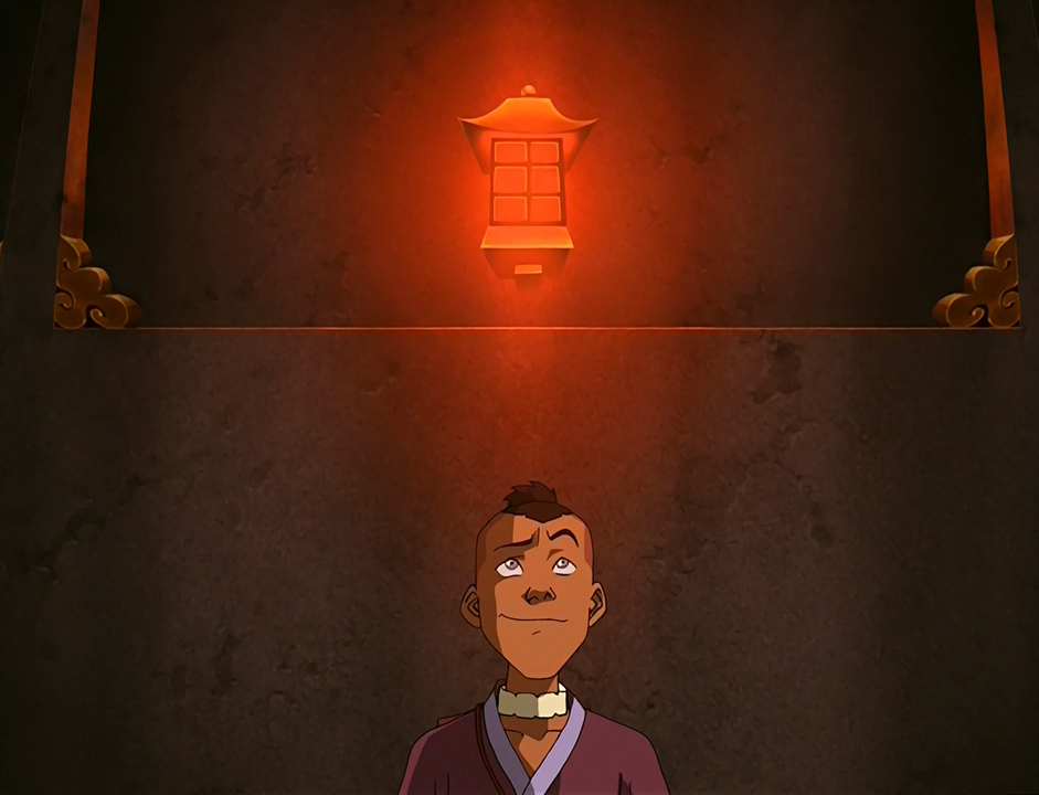 Sokka stands under a lightbulb.